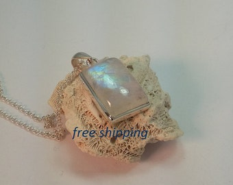 Genuine Rainbow Moonstone pendant, rectangular shaped set in  92.5 sterling silver
