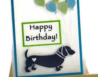 Wiener with Birthday Balloons, Handmade Birthday Card, Weiner Dog Card, For Him, Dachshund, Sausage Dog, Kid's Birthday, Doxie, Child's Card