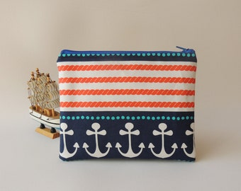 nautical zipper pouch, padded zipper pouch, bag insert organizer, blue navy and white, anchor pouch