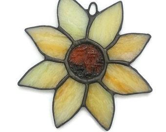 Stained Glass Sunflower Suncatcher, Yellow Sunflower, Handmade