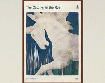 Salinger's The Catcher in the Rye - Large literary book cover print, minimalist poster, bookish gift, modern home decor, Instant Download