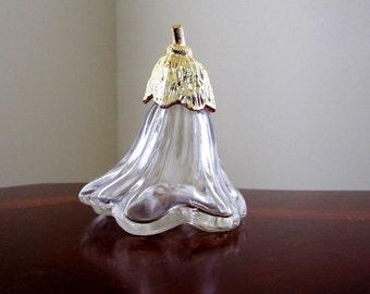 Avon Clear Glass Perfume Bottle, Flower Blossom Cologne, 1970s