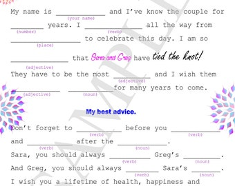Wedding mad libs, printable mad lib, wedding activity for guests, wedding reception games, mad libs printable