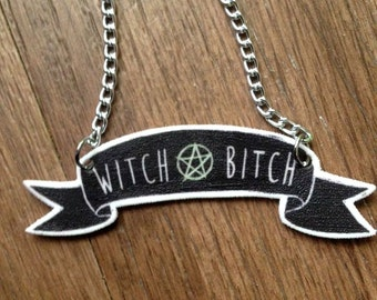 Witch Bitch Black and White/Purple and Black Banner Quote Charm Necklace
