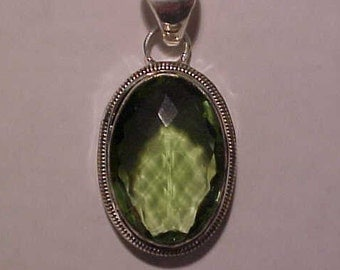 Green Amethysts Pendant (correct name Prasiolite) over 50 carats set in a Silver mounting, FREE shipping in the USA