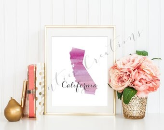 California State Pink Ombre Watercolor Printable Art. California State Love Printable. California Silhouette Outline Watercolor State.