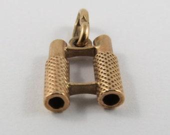 Binoculars 10K Gold Vintage Charm For Bracelet