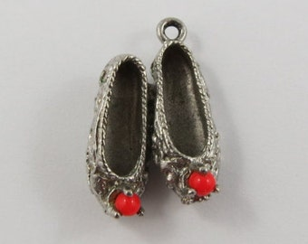 Ballet Flats With Red Stones Sterling Silver Vintage Charm For Bracelet