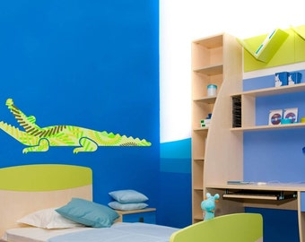 Green Crocodile Cute Wall Decal