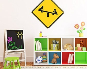 Playground Sign - Kids Room Playroom Décor - Peel and Stick - Removable Wall Decal