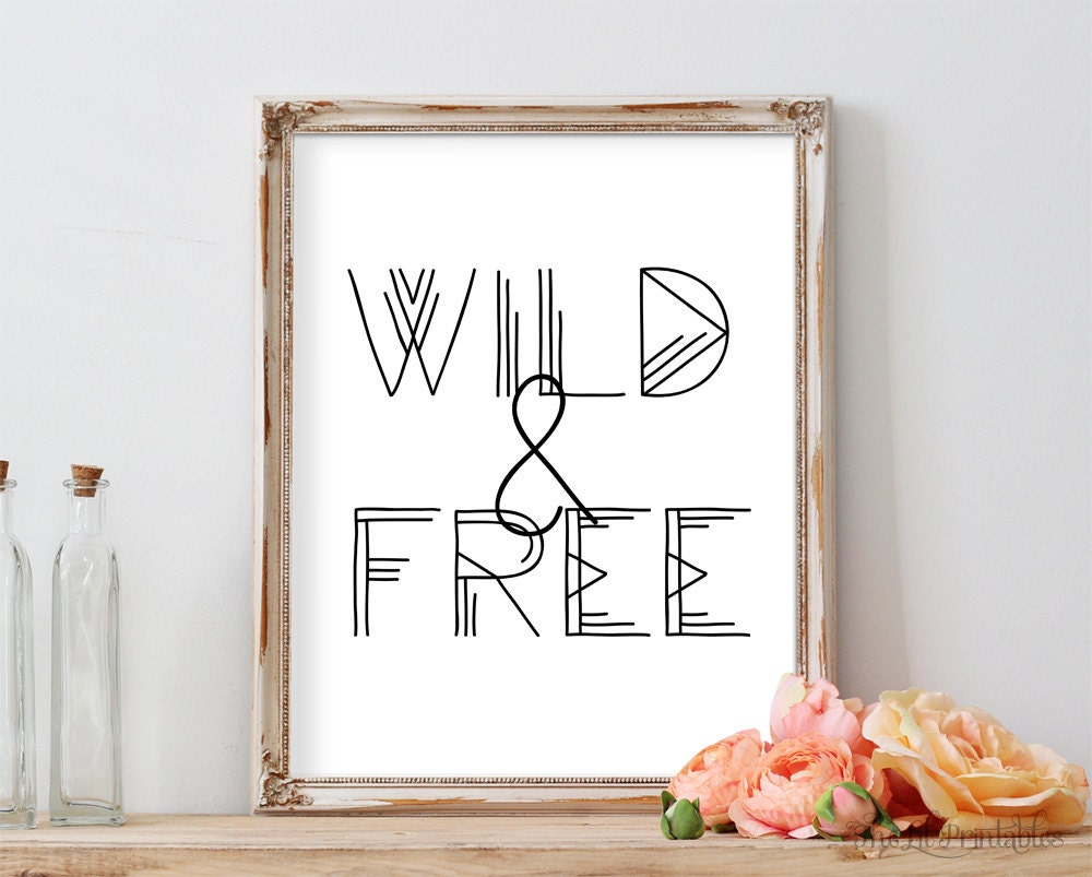 wild and free printable floral wall art printable teen wall. Black Bedroom Furniture Sets. Home Design Ideas