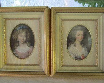 "Shadowbox Pair Miniatures-Recessed Frame, Victorian Young Ladies, Labeled ""Ivory Gold OLDEN DAYS C. & A. Richards - Boston, Mass"""