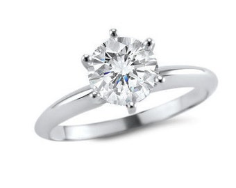 14k White Gold Moissanite solitaire engagement ring 6 prong Forever ONE Colorless- 1/4 Carat -1/2 Carat - 3/4 Carat - 1 Carat -classic