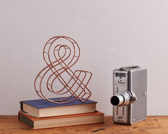 Copper Ampersand, Wire Ampersand, Wire shelfie, Copper Home Decor, Anniversary gift, Industrial Wedding, Copper Gifts, Gift for him