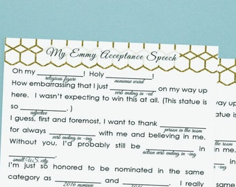 Emmy Awards Party Game / EMMYS / DIY Acceptance Speech /  Television Academy Awards Party Game / Printable