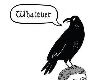 bird refrigerator magnet - funny magnets - fridge magnet - black bird magnet - edgar allen poe- raven magnet - crow magnet - literary magnet