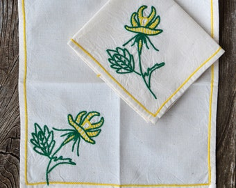 Embroidered French Linen Hankies. Matching Pair of Vintage Handmade Natural Linen Rustic Handkerchiefs with Floral Motif