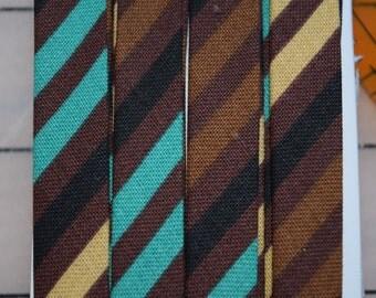 Double Fold Bias Tape with Brown/Tan/Aqua Striped Fabric