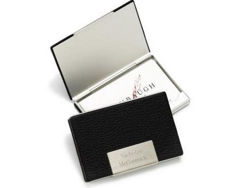 Personalized Black Leather Business Card Holder - Business Card Case