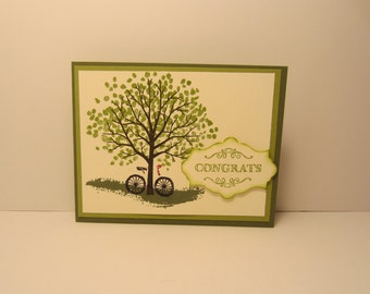 Tree With Bicycle Wedding Card