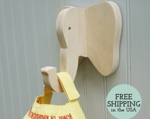 Wall hooks - Elephant wall hook: playful wooden elephant head wall hanger for coats, bags, hats, & backpacks - safari nursery, elephant gift