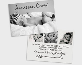Double Sided Birth Announcement Baby Boy Simple Modern Arrow Baby Announcement Card
