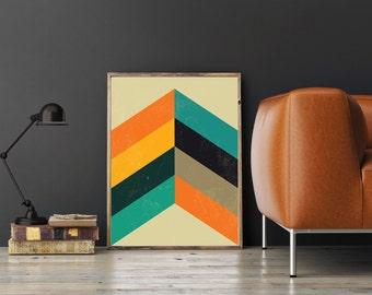 Mid Century Modern Art, Retro Chevron Pattern Print - Scandinavian Design, Modern Minimalist Wall Art, Folk Art, Chevron, Geometric Print