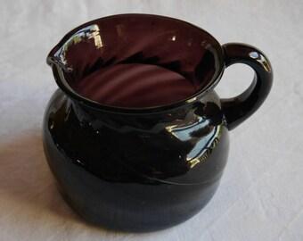 Hand Blown Purple Glass Lemonade Pitcher, Swirled Glass Vase, Dark Aubergine Purple Plum, 1 Quart Size with Pontil Mark