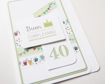 Greetings Card_40_Birthday Card_Handmade in ITALY_Best Wishes Card
