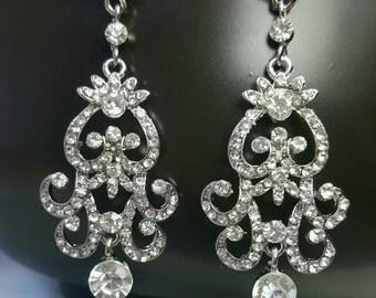Crystal  Bridal Jewelry Earrings, Vintage Bridal Earrings, Art Deco Wedding Earrings, Chandelier Earrings Wedding, Vintage Wedding Jewelry