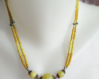 Jade Necklace  Beaded necklace  Ethnic necklace  Yellow Necklace