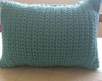 Hand Crocheted Teal Pillow