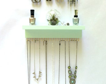 Mint Jewelry Organizer, Earring Display and Necklace Holder with Shelf