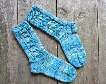 Blue knit socks Womens knit socks Knitted socks Womens wool socks Hand knit socks Bed socks Warm winter socks Knit socks for women