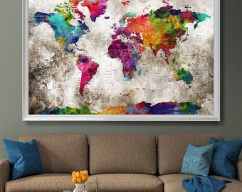 Extra large wall art watercolor prints decor by fineartcenter push pin travel map wall art print extra large wall art push pin world travel gumiabroncs Image collections