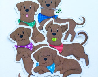 Labrador Die Cut Stickers- Chocolate Lab
