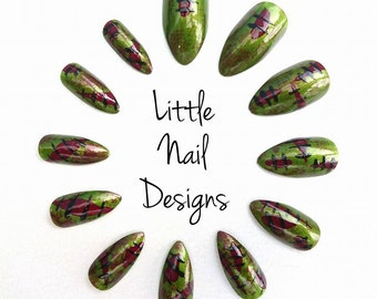 Zombie | Horror | Halloween | Hand Painted False Nails | Little Nail Designs