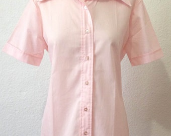Vintage 70s Blouse | Vintage Pink Blouse | Pink Blouse | Short Sleeves Blouse | Large L