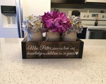 "Teacher Gifts, Principal Gift, Teacher Appreciation Gift, Principal Retirement - ""Personalized Engraved Planter Box w/ Distressed Jars"""