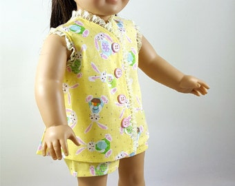 Pastel Yellow Bunny Print Pajamas made to fit 18 inch dolls