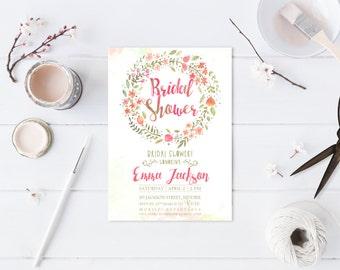 Flower Wreath Invitation Bridal Shower Watercolor Flowers Peach Pink Mint Green Baby Shower Invitation Printable Beach Wedding Shabby Bride