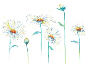Daisies Painting, Watercolour Flower Painting, Floral Art, Watercolour Daisies on Yupo Paper, Flower Art, Daisy Painting, Nature Painting