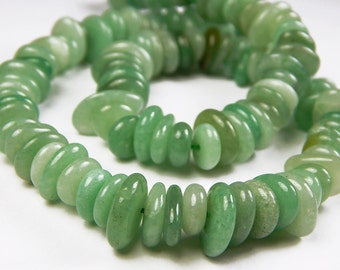8 Inch Strand - 6-14mm Green Jade Freeform Nugget Rondelle Beads - Rondelle - Gemstone Beads - Jewelry Supplies