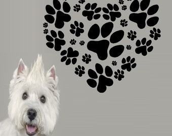 Heart paw prints: wall or window decal
