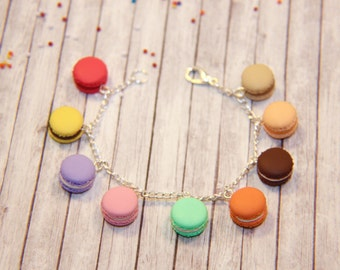 French Delight Bracelet with Sweet Colorful Macarons
