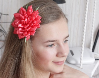 Kanzashi Flower ,Hairclip kanzashi. hairclip coral,flowers hairclip,Hair Accessories,Coral flower clip