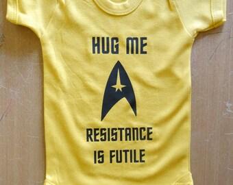 Hug Me Resistance Is Futile Star Trek Baby Vest / Body Suit / Play Suit