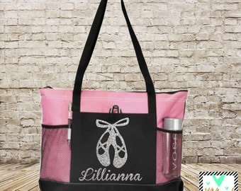 Dance Bag - Personalized Glitter Print Dance Bag - Ballet Bag - Dance Shoe Bag - Danzations