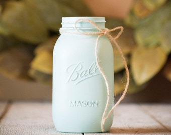 Mason Jar Wedding Centerpiece Blue Rustic Decor Farmhouse Painted