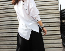 White Asymmetric Shirt / Extravagant Cotton Top / Summer Loose Shirt by Fraktura B0002